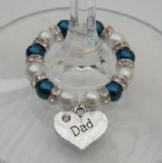 Dad Wine Glass Charm - Full Sparkle Style